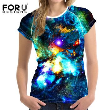 FORUDESIGNS Women T-Shirt Crop Tops Galaxy Space Tumblr T Shirt Woman Short-sleeved Harajuku Tshirt For Girl Roupa Feminina 2017