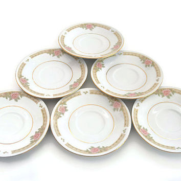 "Lynns Fine China Set of 6 Saucers Melody Pattern 4.5"" White Floral Small Plates Collector's Item"