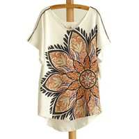 A071020 Ethnic cotton short sleeve large flowers