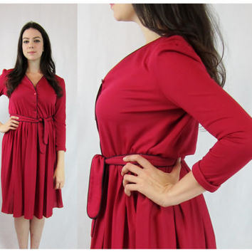 red shirt waist dress long sleeve pleated skirt full circle large L