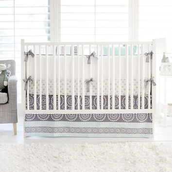 Harper in Aqua Baby Bedding | Gray and Aqua Crib Bedding