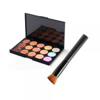 15-Color Face Cream Concealer Palette Cosmetic Set with Oblique Head Brush