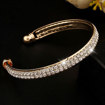 Fashion Women New Style Gold Crystal Rhinestone Bangle Cuff Bracelet Jewelry + Gift Box