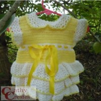 Girls Yellow Crocheted Dress with White Ruffles, by Cathy Creates