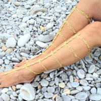Handmade Gold Crochet Barefoot Sandals in a Gladiator Style,Sexy Foot Jewellry.