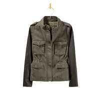 TWILL JACKET WITH FAUX LEATHER SLEEVES - Jackets - Girl - Kids - ZARA Canada