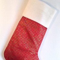 Golden Squares Christmas Stocking