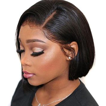 Human Hair wig 8-14inch lace front Bob wig straight