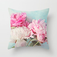 3 peonies Throw Pillow by Sylvia Cook Photography