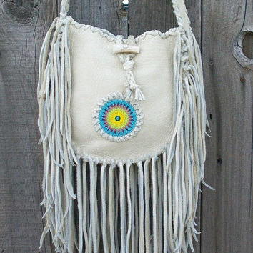 Beaded boho handbag Leather handbags Fringed leather tote