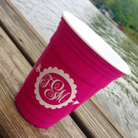 Monogrammed Reusable Solo Cup Personalized Solo Cup Insulated Cup Beach Cup