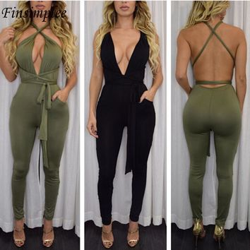 """BODYCON"" Spring Ladie's Deep V Cross Backless Jumpsuit"