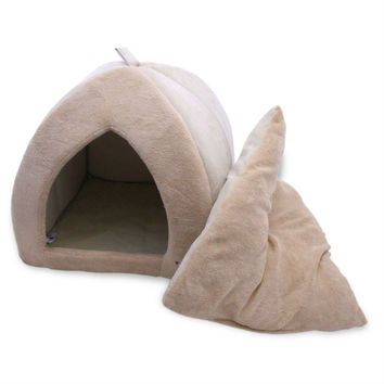 Tan 18-inch Large Dog Bed Tent with Soft Fleece Linning