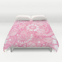 Henna Design - Pink Duvet Cover by haleyivers