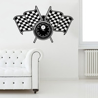 Racing Flags Stop Watch Wall Decal Sport Stopwatch Decals Wall Vinyl Sticker Interior Home Decor Family Art Wall Decor Bedroom Mural SV5966