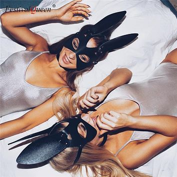 2019 Black Leather Bunny Rabbit Ear Masks Funny Women Halloween Dancing Party Face Mask Masquerade Masks Costume Accessory