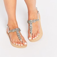 ASOS FIJI Wide Fit Embellished Leather Flat Sandals at asos.com