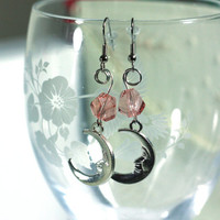 Light Pink Twisted Crystal Bead and Silver Half Moon Charm fashion Earring - boho style
