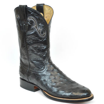 Gavel Handcrafted Men's Black Full Quill Ostrich Rancher Round Toe Cowboy Boots
