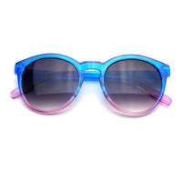 Vintage Two Tone Retro Candy Color Fade Round P3 Splash Sunglasses