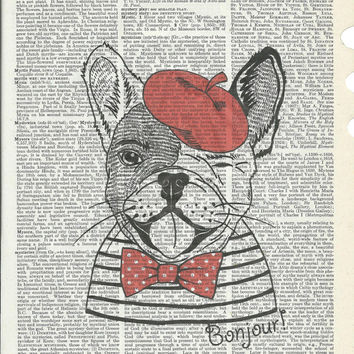 Illustration of cute Bulldog  dressed up in french style on Upcycle Vintage Page Book Print Art Print Dictionary Print Collage Print