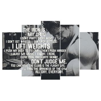 Weight lifting Arnold Schwarzenegger Inspirational Canvas Five Piece