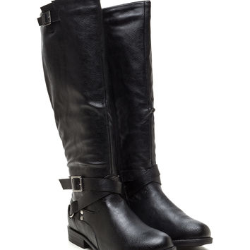 Straps And Buckles Faux Leather Boots