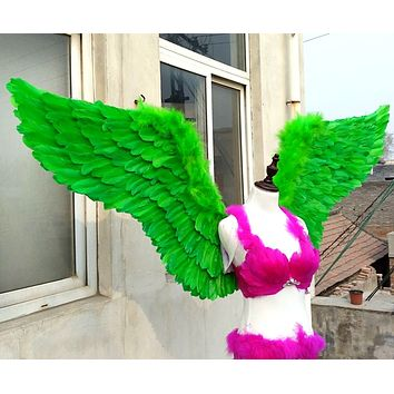 Fun Adult Green Feather Angel Wings Cosplay Party Stage Show