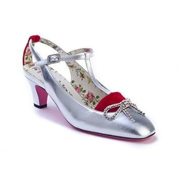 Gucci Women's Anita Leather T-Strap Pump Shoes Silver