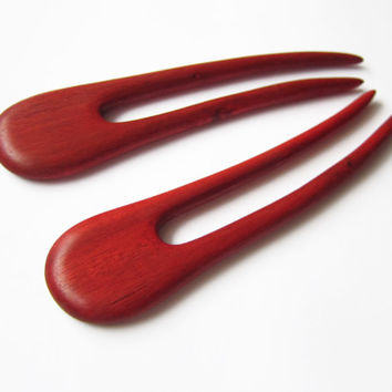 Wooden Hair Forks, hairforks, wood, hair stick, pair, hair fork pair, red