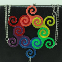 Linking pendants 6 piece set Best friend jewelry Bright Rainbow