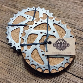 Bicycle Drink Coaster (SET OF 4)- Bike Coaster -Bike Gear Coaster, Gifts for Cyclists, Drink Coaster, Beer Accessories, Wine Accessories