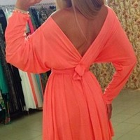 Coral Orange Long Sleeve Batwing Cross Wrap V Neck Tie Waist Pleated Flare Mini Dress