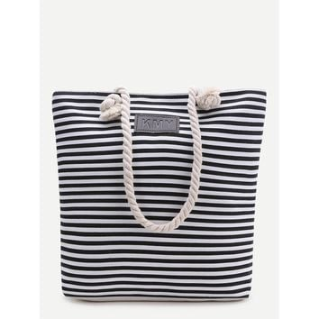 Black Striped Print Tote Bag - Purse - Large Bag - Beach Bag