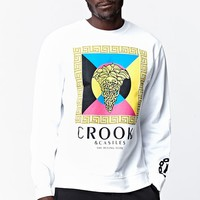 Crooks and Castles Boxed Crew Medusa Crew Neck Sweatshirt - Mens Hoodie - White