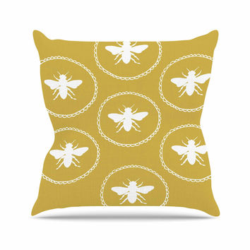 "Jennifer Rizzo ""Busy As A Bee Maise Gold"" White Nature Outdoor Throw Pillow"
