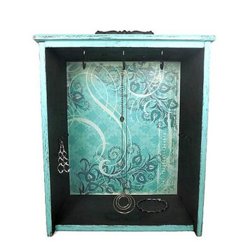 Teal Distressed Jewelry Box, Upcycled Drawer, Shabby Jewelry Box, Gift for Her, Gift under 50