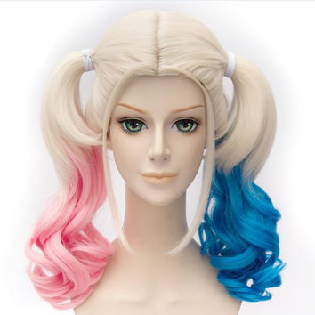 Top Quality Batman Suicide Squad Harley Quinn Short Curly Gradient Color And Blonde Cosplay Wig Heat Resistant Cos Hair Wigs
