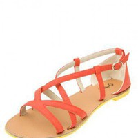 ORANGE CRISS-CROSS STRAPPY SANDAL @ KiwiLook fashion