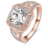 Latest Arrival  Luxury Gold/Silver Plated Square Shape Big Clear AAA Zircon  Lord of The Men's Rings