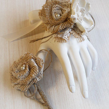 Burlap & Sola Flower Wedding Wrist Corsage and/or Boutonniere, for Rustic, Country, Bohemian, Woodland, Style Weddings. Made to Order.