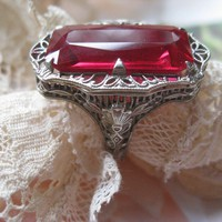 Ostby & Barton 14K White Gold Filigree Synthetic Ruby Ring, Art Deco Ring, Alternative Engagement Ring