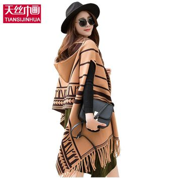 2017 Plaid Winter Women Poncho and Capes Knitted Cashmere Female Shawls and Wraps Blanket Cardigans Sweater Coat Tassel Cap