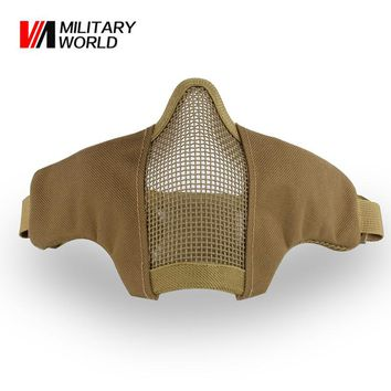 Tactical Metal Mesh Half Face Mask Men Paintball Airsoft Shooting Face Mask For War Game Hunting Accessories Cycling Mask