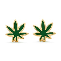 Cannabis Leaf Stud Earrings