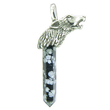 Protection Powers Wolf Head Amulet Crystal Point Snowflake Obsidian Pendant Necklace