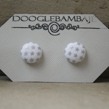 Super Star Design- Little Shiny Metallic Silver Stars on a Pretty White Fabric Button Earrings Stud Post- Wedding