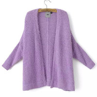 Casual Long Sleeves Mohair Knit Cardigan Shawl