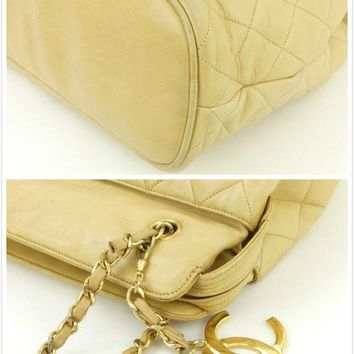 r60925 Auth CHANEL Beige Quilted Lambskin Leather Chain Large Shopper Tote Bag