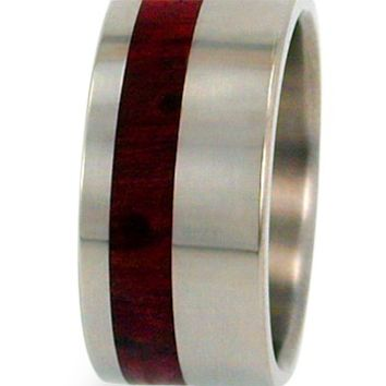 Redwood Pinstripe Inlaid in Titanium Ring - Water Resistant - Interchangeable inlays possible